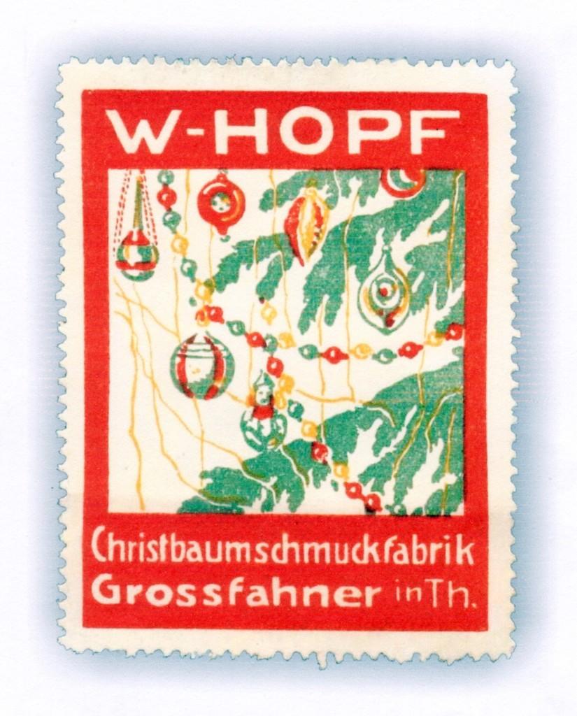 Werbemarke der Christbaumschmuckfabrik W. Hopf aus Großfahner in Thüringen. Foto: M. Hendrickx.