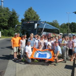 Teilnehmer der Bürgerfahrt der Stadt Gotha mit Europeadefahne.