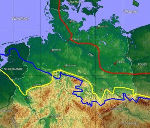 Maximale Ausdehnung des pleistozänen, fennoskandischen Inlandeises. Blau: Elster-Eiszeit, Gelb: Saale-Eiszeit, Rot: Wecihsel-Eiszeit. Abbildungsquelle: wikipedia. Erstellt von Botaurus stellaris.